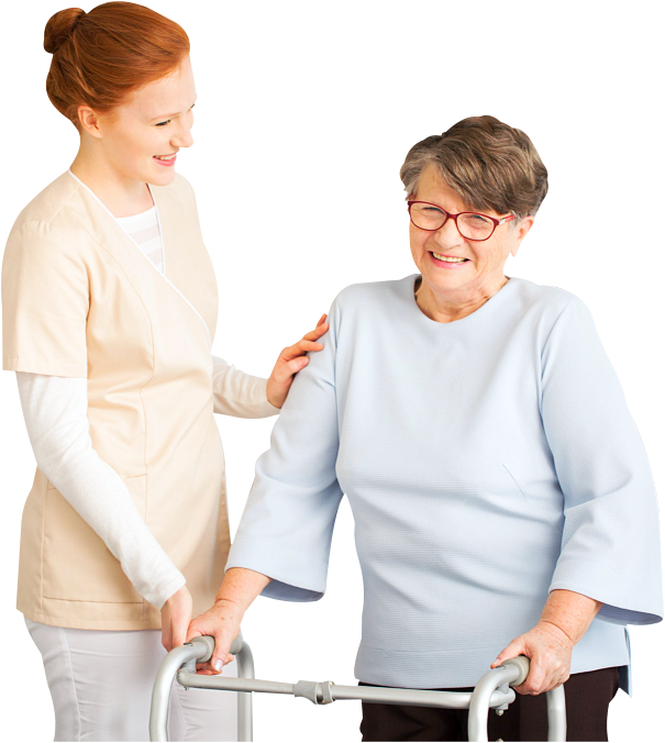 elder woman and caregiver
