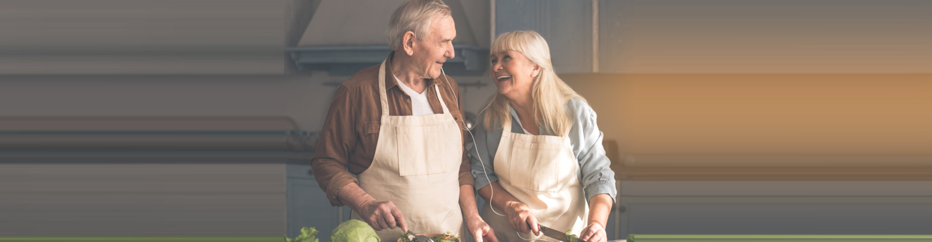 elderly couple preparing food concept